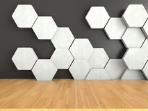 Wooden floor with white hexagons pattern on dark wall background, 3D rendering Stock Photography