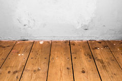 Wooden floor and white wall Stock Image