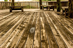 Wooden floor in wide angle Stock Images