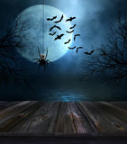 Wooden Floor With Halloween Background Royalty Free Stock Photos