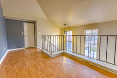 Wooden flooring in the spacious loft on the top story. Top story loft in Southern California townhome Stock Images