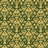 Wooden floral damask seamless pattern background Stock Photo
