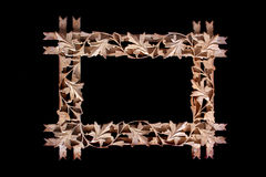 Wooden Floral Frame Stock Images