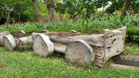Wooden flower bed in the park Stock Photo