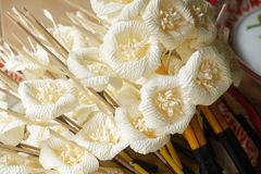 Wooden flower for buddhist cremation. Kind of wood flower to be placed on the site of cremation Buddhism, Thailand stock photo