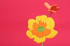Wooden flower and butterfly Stock Image