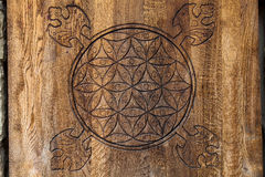 Wooden Flower of Life. The Flower of life is an ancient symbol of Sacred Geometry and represents the fundamental order of creation royalty free stock photography