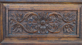 Wooden flower 01. Wooden flower made form wooden door.It is beautifully carved and adorned with the door Royalty Free Stock Photos
