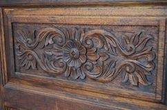 Wooden flower 02. Wooden flower made form wooden door.It is beautifully carved and adorned with the door Stock Image