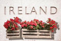 Wooden flowers boxes against an old stone wall with the word Royalty Free Stock Photography