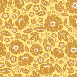 Wooden flowers seamless pattern background border Royalty Free Stock Photo