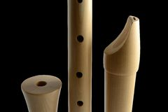 Wooden flute. Three parts of a flute Royalty Free Stock Photos
