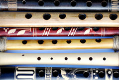 Wooden flutes with holes Royalty Free Stock Image