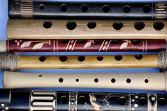 Wooden flutes and wooden recorders Royalty Free Stock Photos