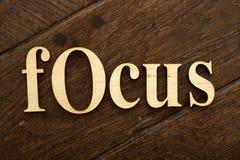 Wooden focus word Stock Image