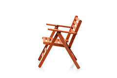 Wooden folding beach chair Royalty Free Stock Photo
