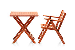 Wooden folding beach furniture Stock Photos