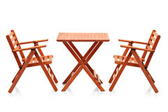 Wooden folding beach furniture Stock Image
