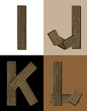 Wooden font - latter I J K L. Royalty Free Stock Photography