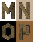 Wooden font - latter M N O P. Stock Photo