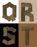 Wooden font - latter Q R S T. Royalty Free Stock Photography