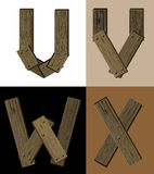 Wooden font - latter U V W X. Stock Photography