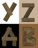 Wooden font - latter Y Z A B. Stock Image