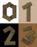 Wooden font - number 0 1 2 3. Stock Photos