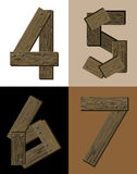 Wooden font - number 4 5 6 7. Royalty Free Stock Images