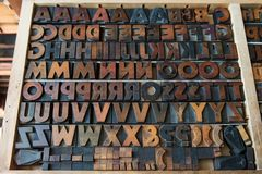 Wooden font type. Set arranged alphabetically stock photography
