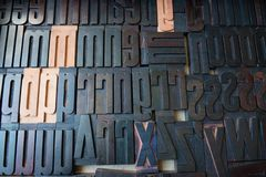 Wooden font type. Set arranged alphabetically royalty free stock image