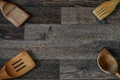Wooden food storage tins that have been used in the past and are stock photography