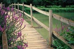 Wooden foot bridge Royalty Free Stock Photo