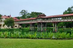 The wooden foot bridge connect  two pavillion in Sanamchandra Palace ,  Nakorn  Prathom province , Thailand Stock Image