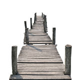 Wooden foot bridge. Isolated on a white background Stock Image