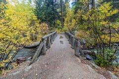 Wooden Foot Bridge Over the Stream Stock Image