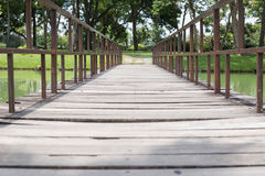 Wooden foot bridge in the park with trees. Wooden foot bridge cross the pond in the park with trees Stock Images