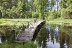 Wooden footbridge Royalty Free Stock Images