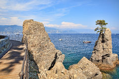 Wooden footbridge along Mediterranean sea coast in Portofino. Stock Photography