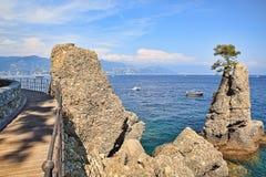 Wooden footbridge along Mediterranean sea coast in Portofino. Stock Photography