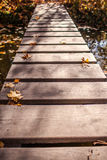 Wooden footbridge Royalty Free Stock Images