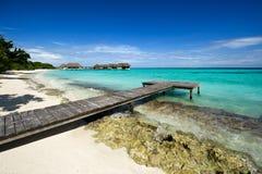 Wooden footbridge on beach royalty free stock photos