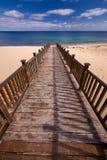 Wooden footbridge on the beach Stock Images