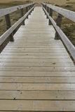 Wooden footbridge or boardwalk, Chesil beach. Stock Photo