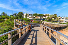 Wooden footbridge in Carvoeiro town Royalty Free Stock Images