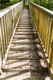 Wooden footbridge with handrails in sunlight. Looking up a wood footbridge with wooden rails, sunlight and shadow stock photography
