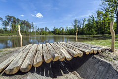 Wooden footbridge on the lake Stock Photo