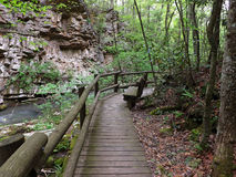 A Wooden Footbridge by a Mountain Stream Royalty Free Stock Photo