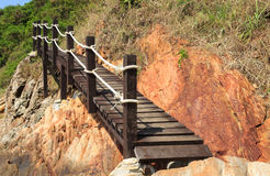 Wooden footbridge near the sea Royalty Free Stock Photo