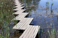 Wooden footbridge over lake Royalty Free Stock Photos